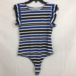 Intimately Free People Ruffle Stripe Bodysuit